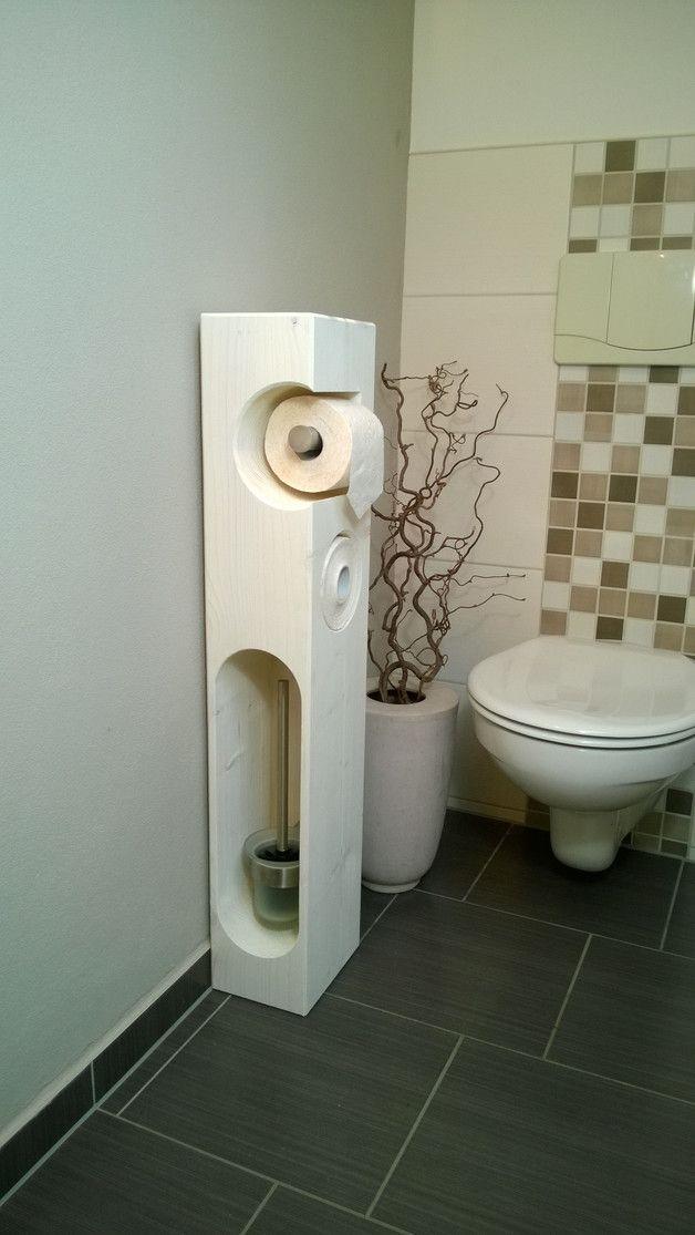 toilettenpapierhalter holz wei mit wc b rste klopapierhalter badezimmer mit liebe. Black Bedroom Furniture Sets. Home Design Ideas