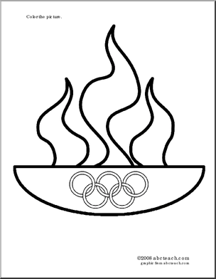 Olympic flame coloring page from http://abcteach.com