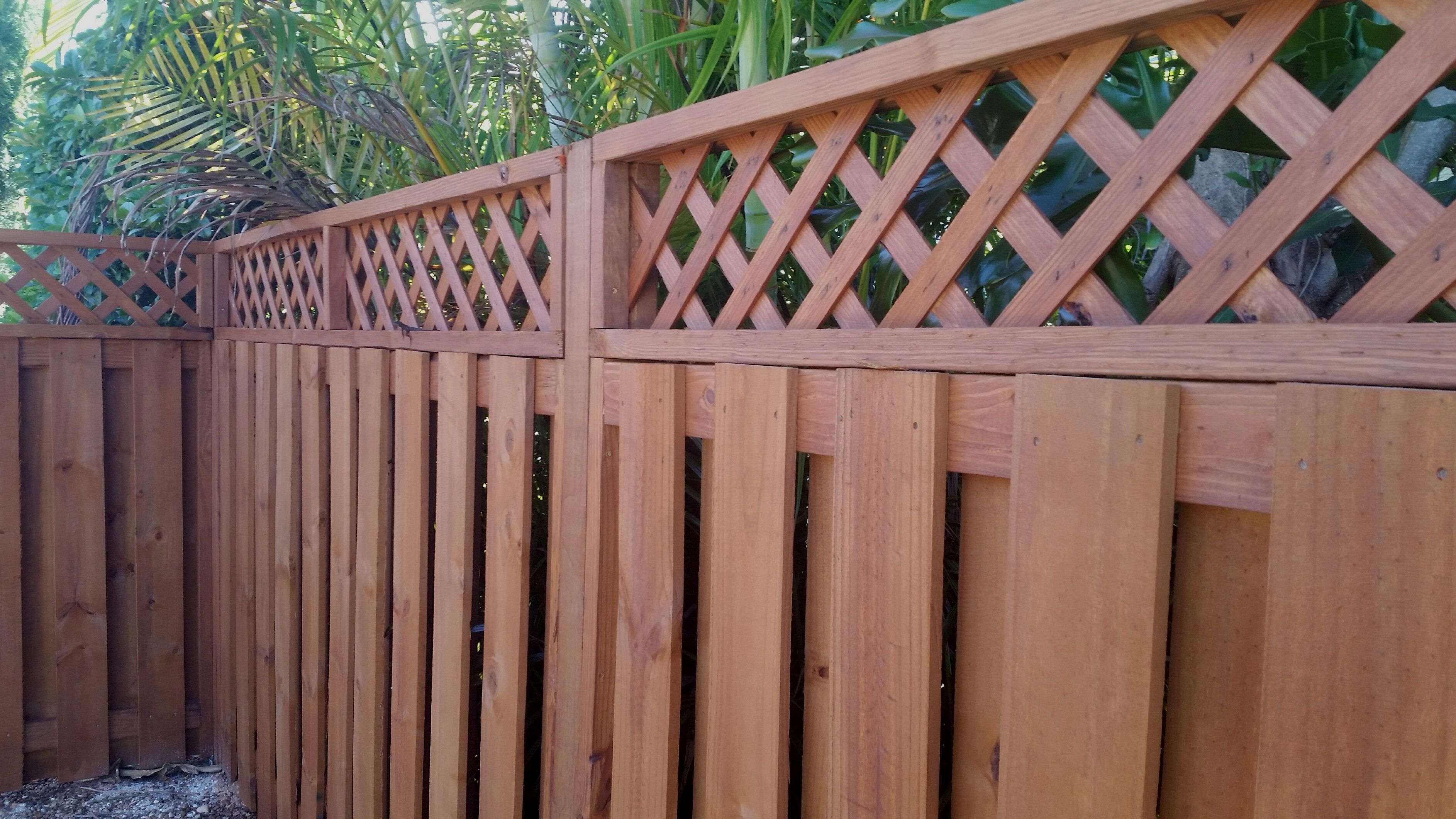 Vertical Shadow Box With Lattice Top Perfect For Tropical Yards Fence With Lattice Top Backyard Diy Projects Wood Fence Design