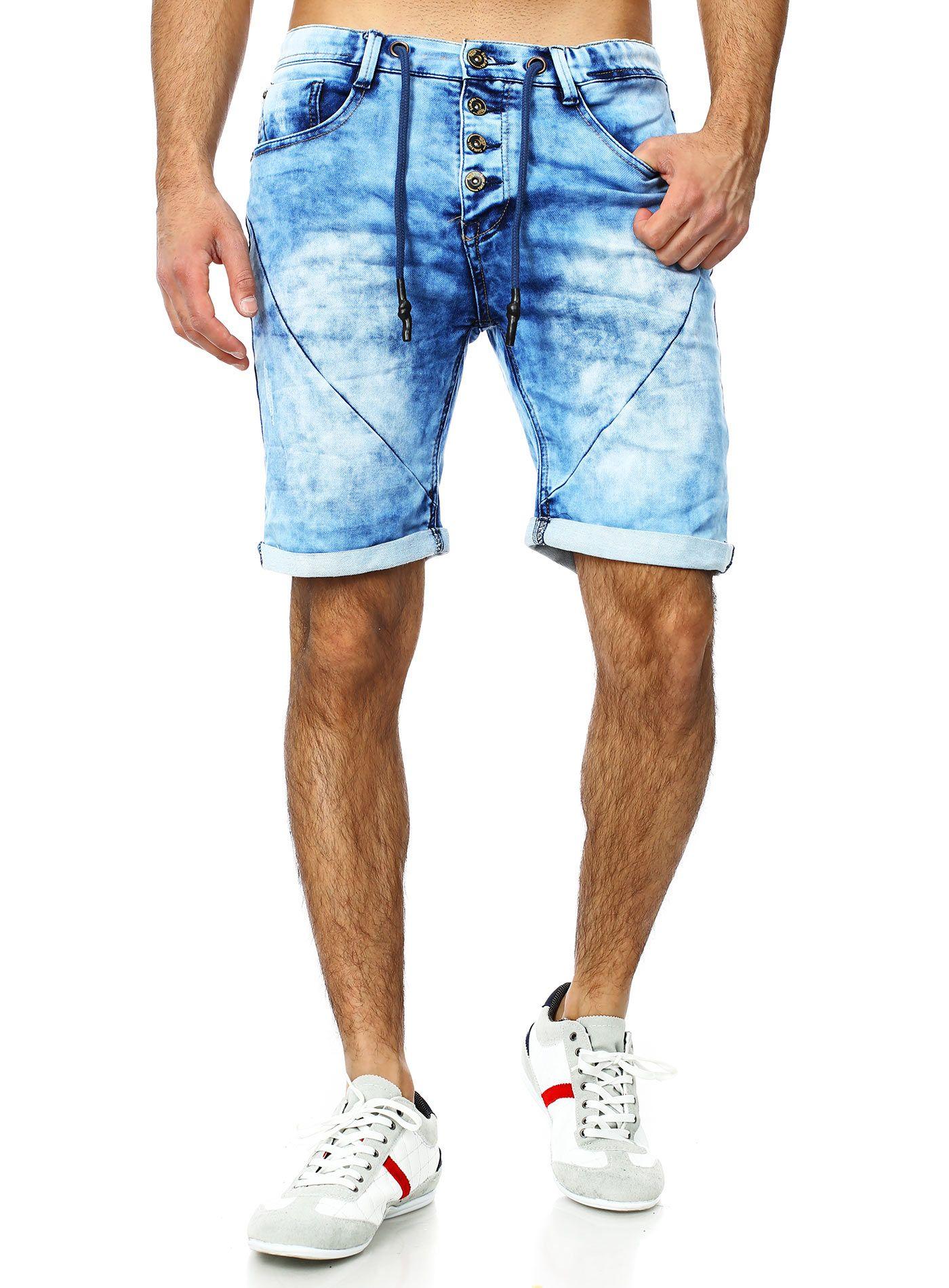 Vintage Denim Jogger Shorts in blue by Sublevel | jeans men summer ...