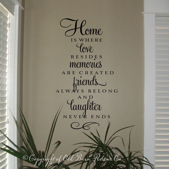 Home is where love resides Vinyl Wall Decal, Home is where love ...