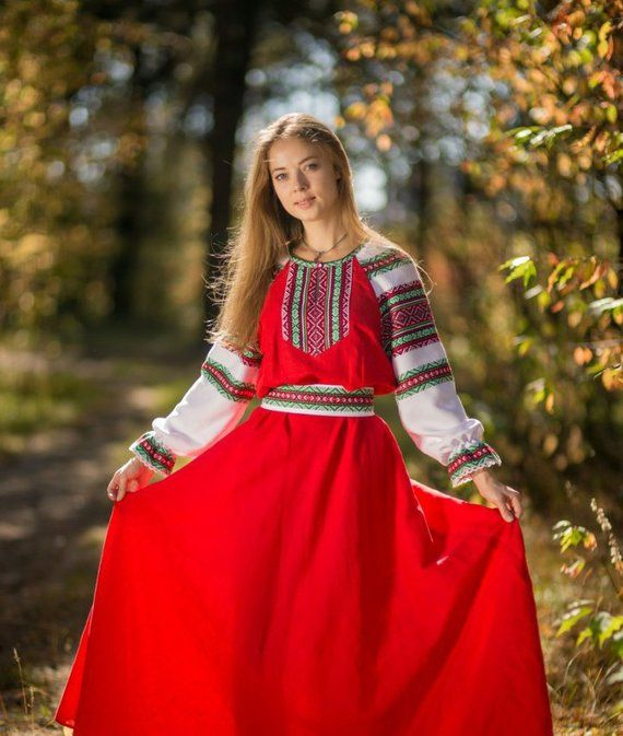 1e762e32520 Traditional russian long sleeve linen sarafan