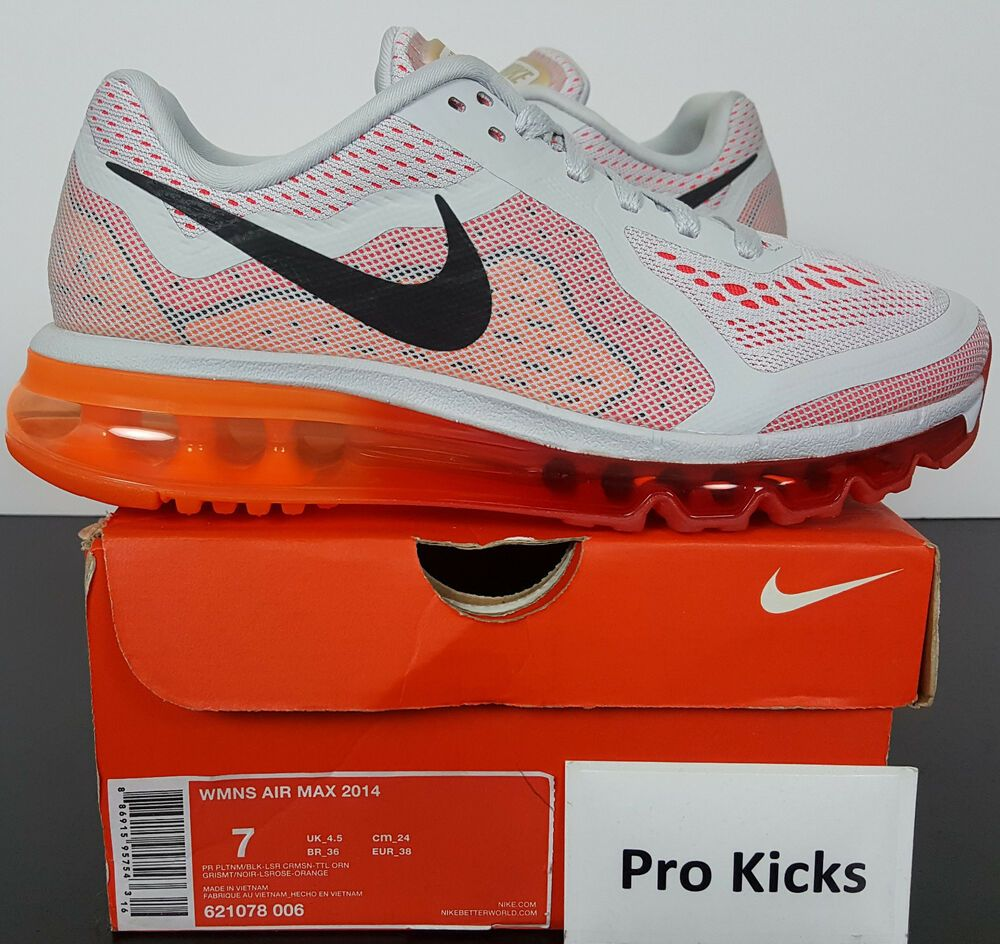 pretty nice 4725c 4b2d5 WOMENS NIKE AIR MAX 2014 RUNNING SHOES GREY RED ORANGE NEW 621078-006 (SIZE