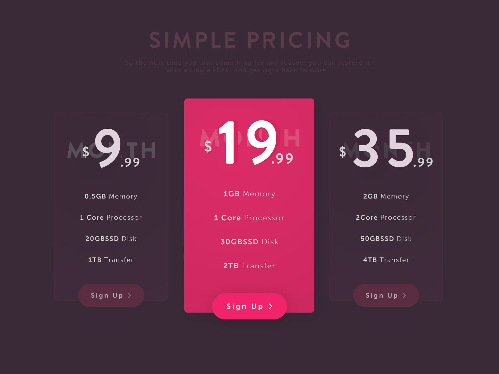 Simple pricing