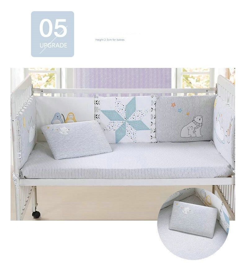 Cotton Knitted Baby Bumper Bedding Sets Collision Proof Newborn