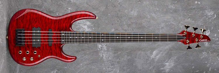 Kiesel Guitars LB75, ruby red stain on quilted maple (QSR), fretless fingerboard w/ lines & dots (FID), matching headstock (QPH), gold hardware (G), piezo bass bridge w/ blend control (P), HB2 bridge humbucker (HB2), one coil splitting switch (31)