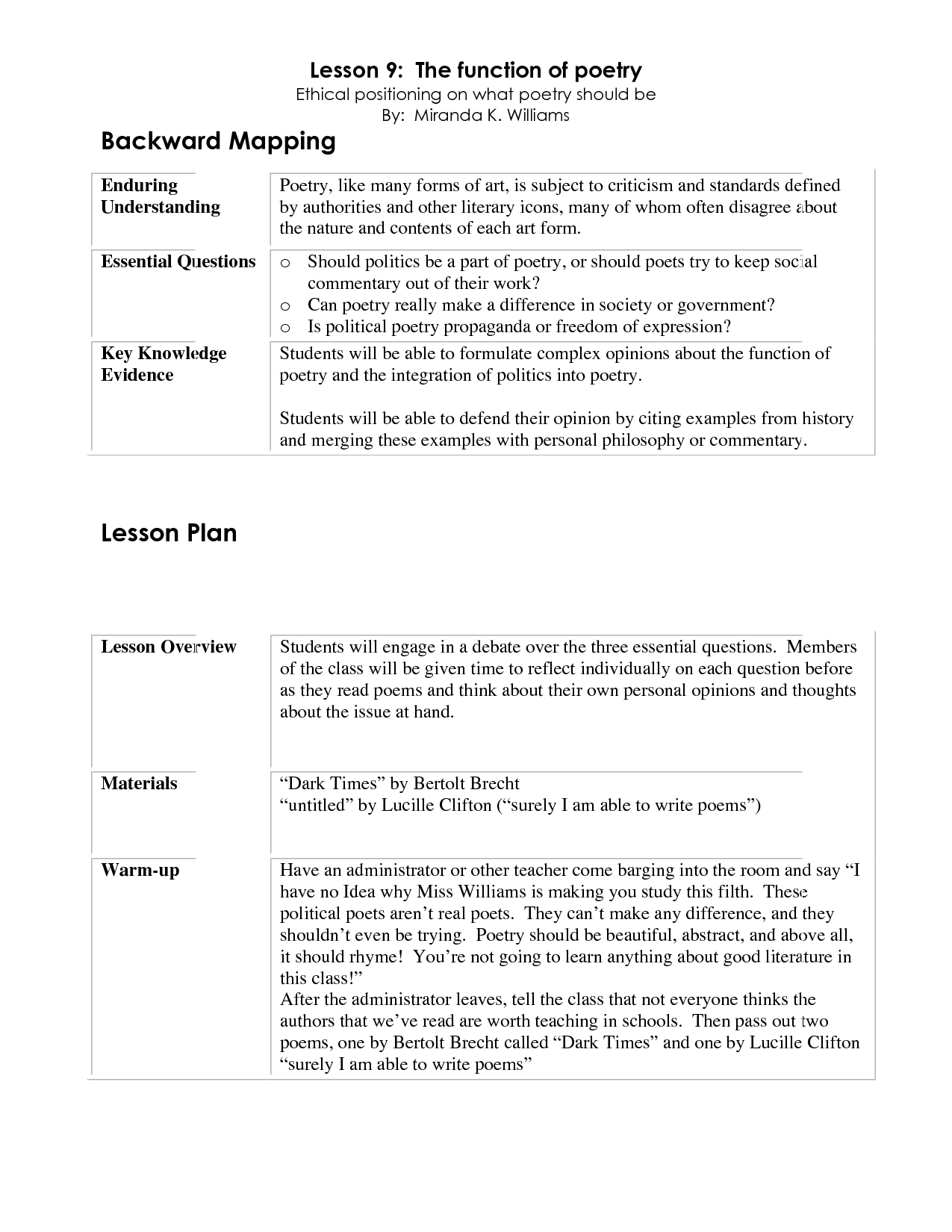 Backward planning template backward mapping lesson plan - Game design lesson plans for teachers ...
