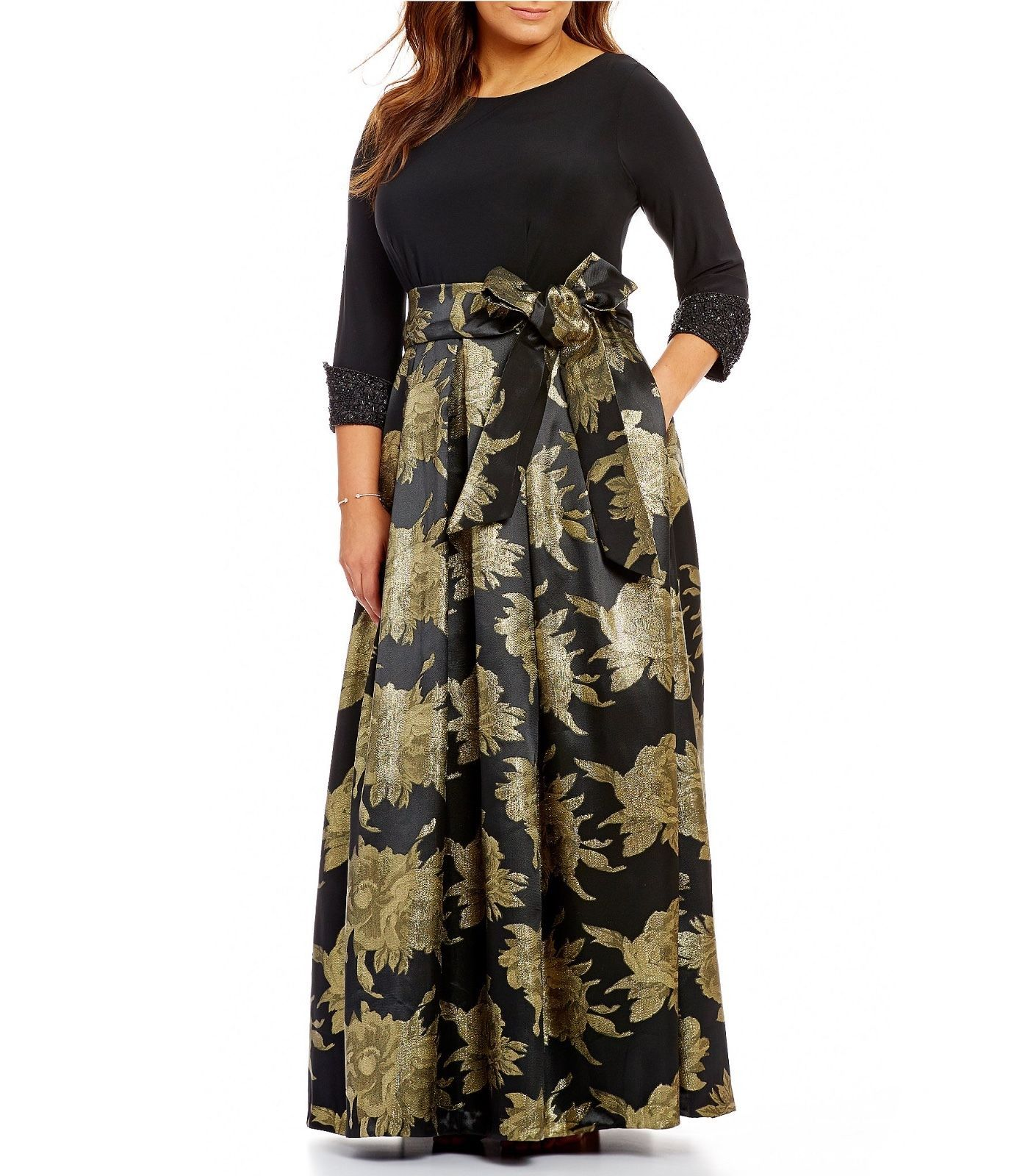 Awesome great eliza j blk gld metallic brocade floral jacquard