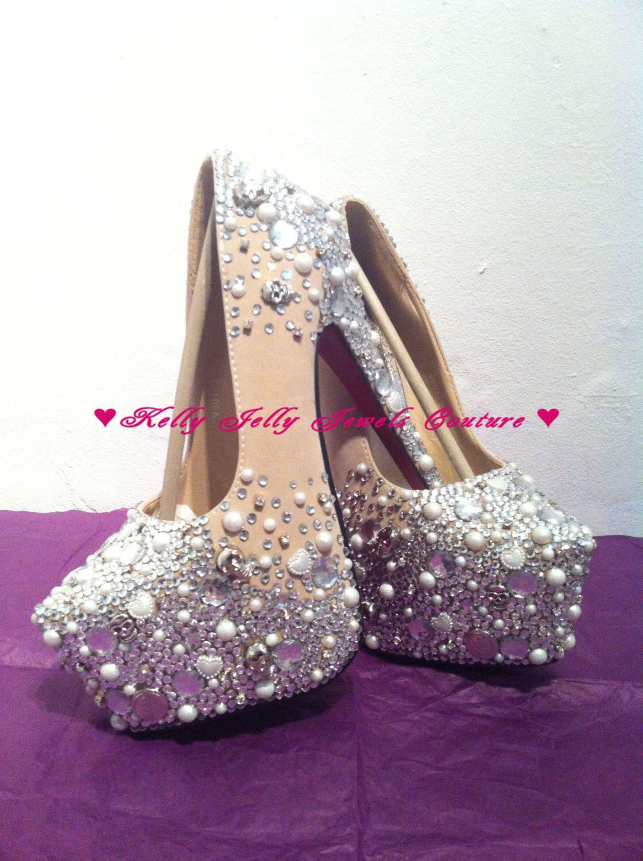 Silver Scatter Diamonte Diamante Bling Pearls and Skulls Heel ...