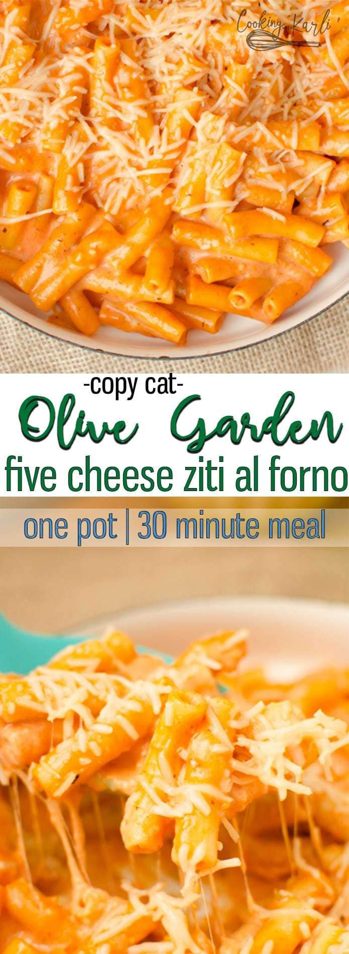One Pot Creamy Ziti Pasta tastes even better than Ziti dishes you'd order from a restaurant! This One Pot meal is a fast, easy, dump and go dinner that won't leave you with a sink full of dishes! All it takes is a handful of ingredients to create this Pasta dish. |Cooking with Karli| #zitibake #copycat #olivegarden #creamyziti #onepot #30minmeal #fast #easy #easyonepotmeals