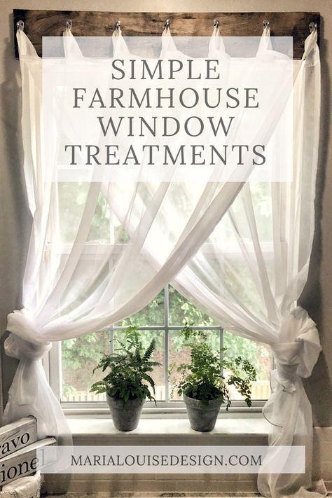 Simple Farmhouse Window Treatments | Farmhouse window ... on Farmhouse Dining Room Curtain Ideas  id=25618