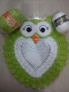7300db3241f9a FlaviaNr Artes: Pap jogo de banheiro coruja | Carpets with crochet ...