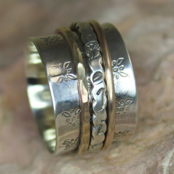 Spinner Ring Serenity With Copper Bronze In 2020 Spinner Rings Fine Jewelry Gift Beautiful Rings