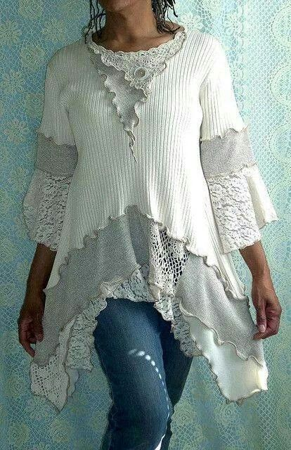 Lace sweatshirt sweater upcycled from Flicka by Brenda Abdullah,  share from Facebook Vintagemosiacs dragonfly