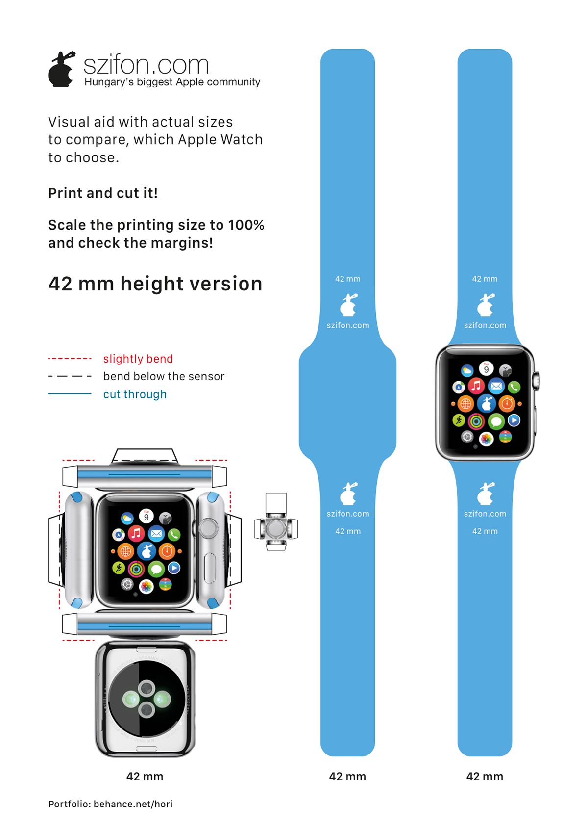 Apple Watch Papercraft with actual sizes on Behance 02