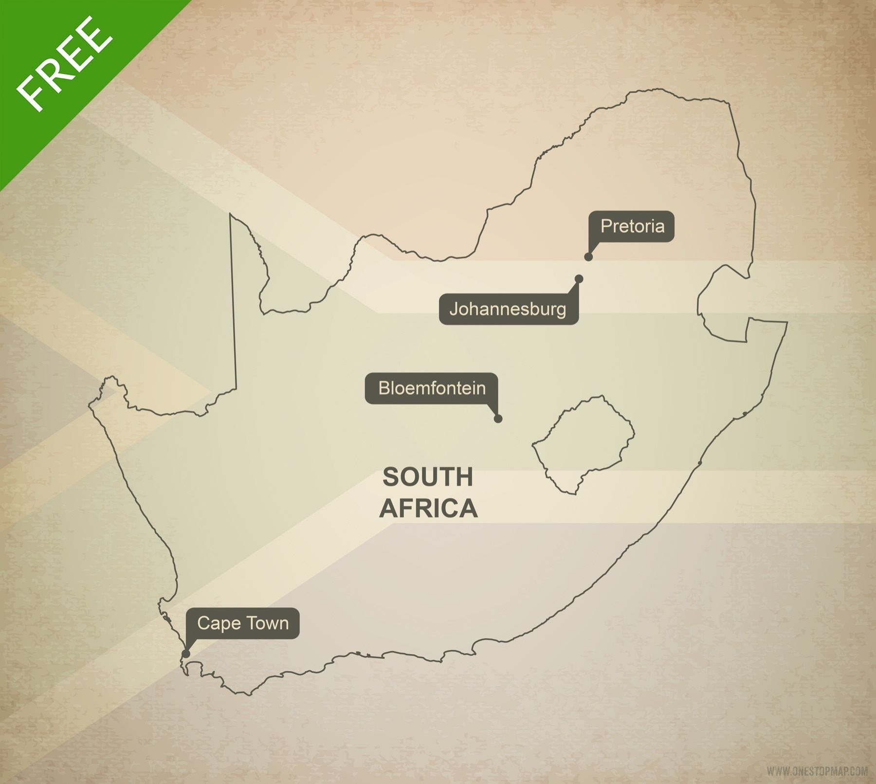 Free map of South Africa outline