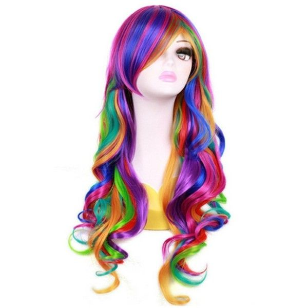27.56 Long Rainbow Big Wavy Ombre Spring Bouquet Cosplay Wig For Women... (€29) ❤ liked on Polyvore featuring beauty products, haircare and hair styling tools