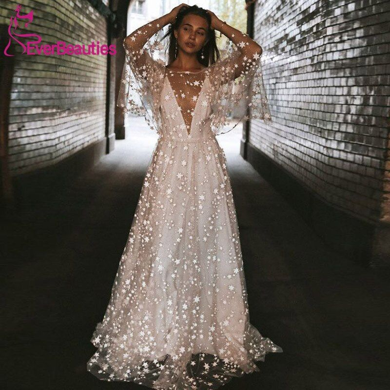 Cheap Wedding Dresses Buy Directly From China Suppliers Beach Wedding Dress 2019 Shiny Stars A Line Boho Bridal Dress Backless Summer Bridal Gowns Enjoy Free