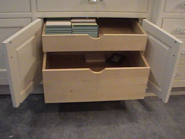 Optional Double Natural Pine Wood Pull Out Drawers Design