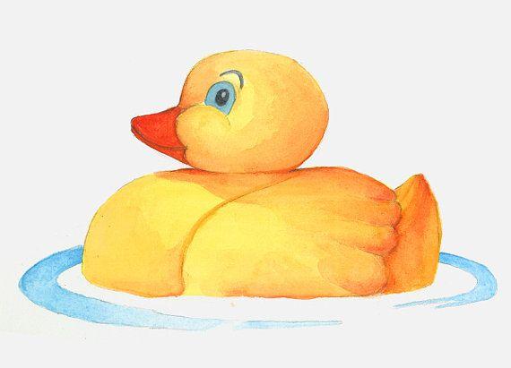 Rubber Duckies 8 x10 Watercolor Print Nursery Wall Art | My Animal ...