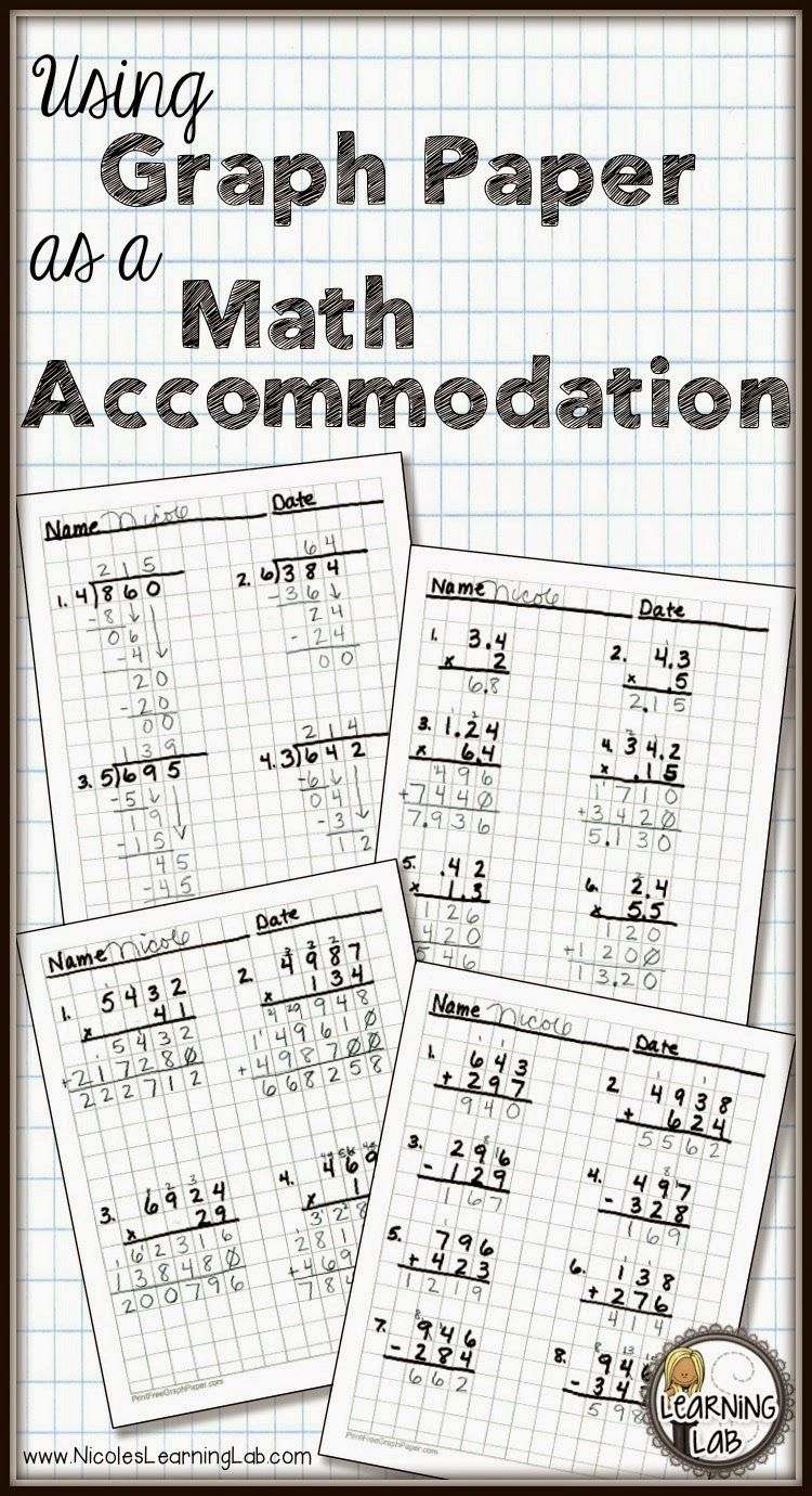 Using Graph Paper As A Math Accommodation Learning Lab Math Methods Math Graphing How to use graph paper
