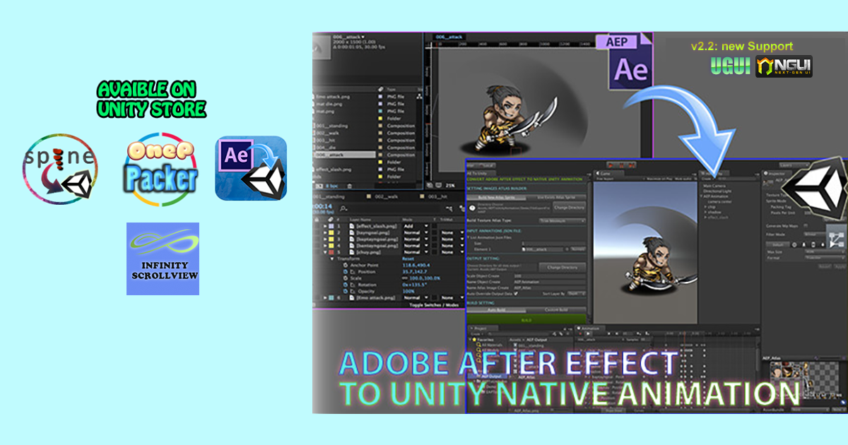 Features: - High performance using native Unity Animation