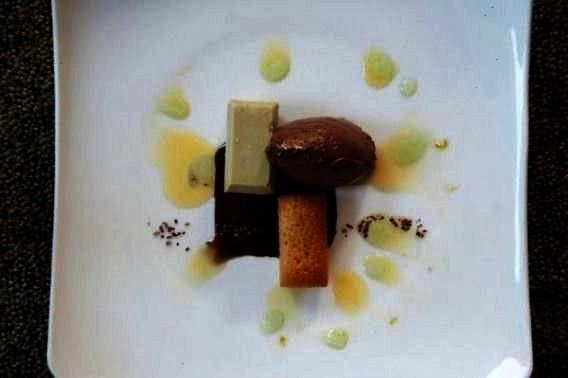 White chocolate avocado cremeaux spiced chocolate sauce corn financier dark chocolate mousse lime o