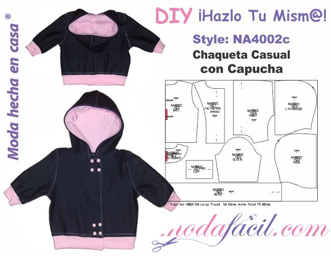 Descarga gratis los Moldes de Chaqueta Casual con Capucha para bebes ...