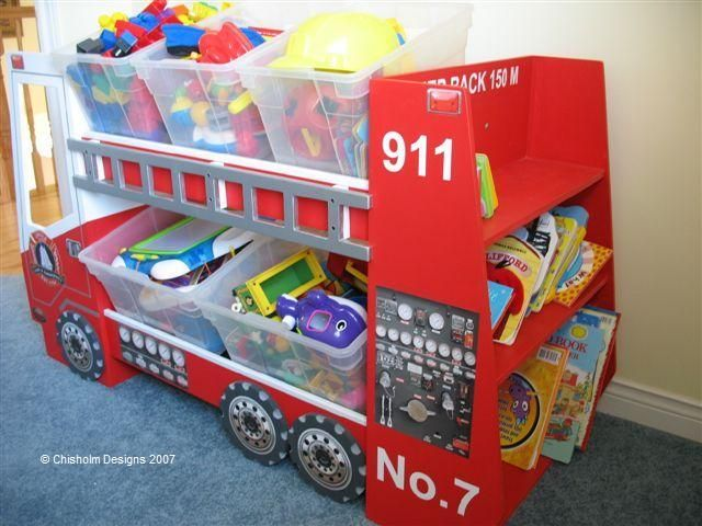 Fire Truck Toy Box At Www Toyboxplan This Site Gives You The Plans To Build Diffe Storage Organizers Yourself Decals Sold Separately I