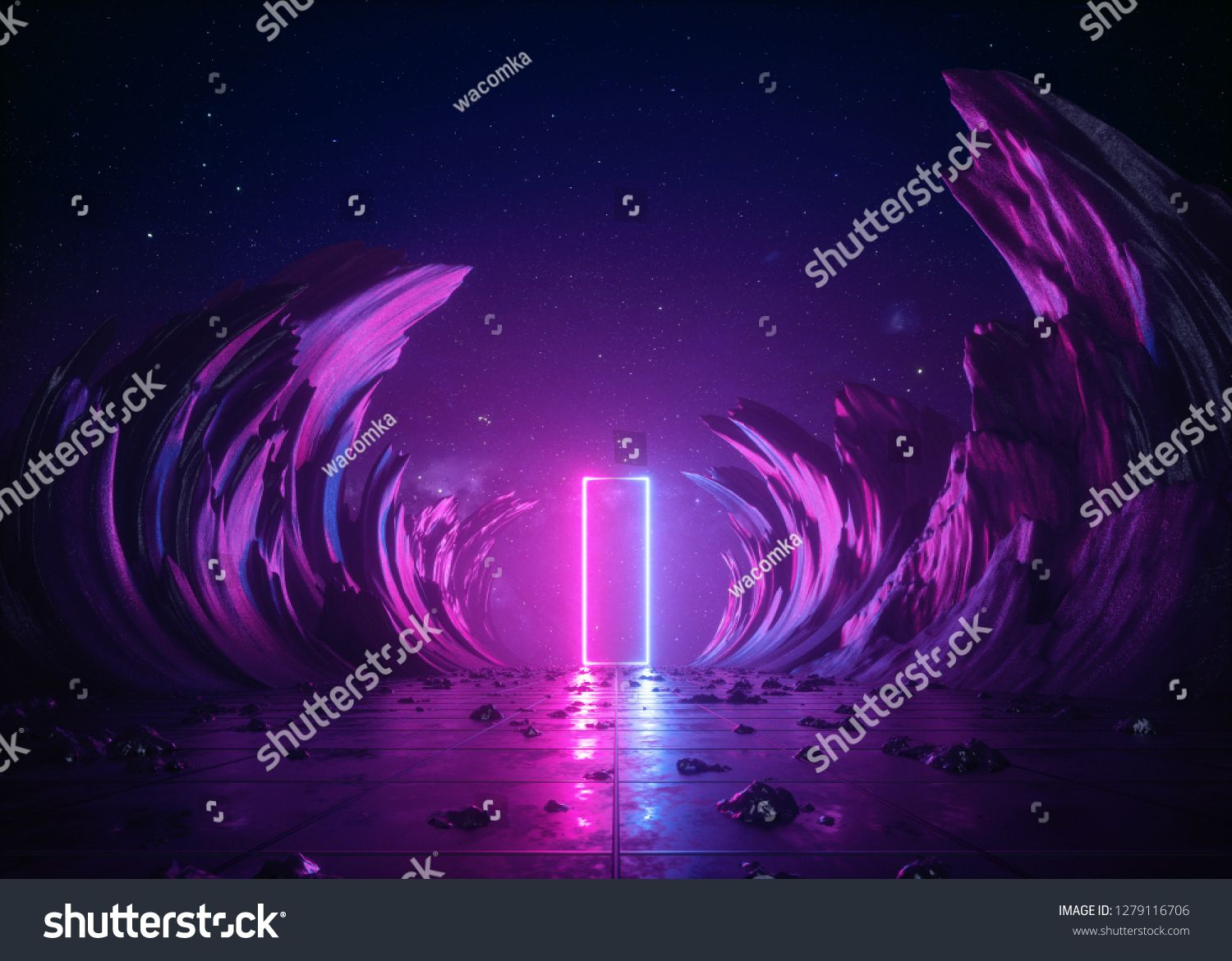 3d Render Abstract Background Cosmic Landscape