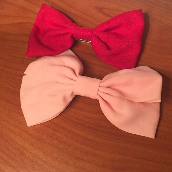 Bow Set  Two cute bows! • Clip in back • Red and Pink • Cute addition to any outfit! Forever 21 Accessories Hair Accessories