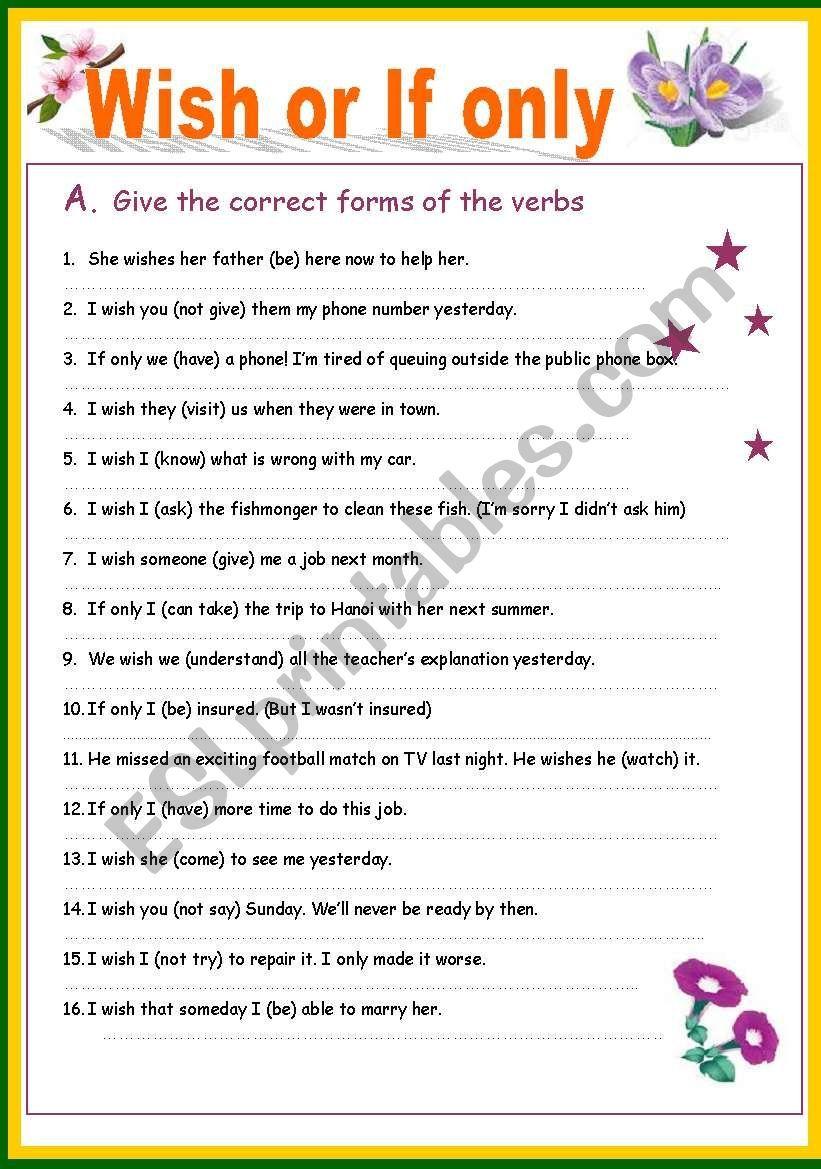 wish or if only worksheet subjunctive mood grammar worksheets english grammar grammar. Black Bedroom Furniture Sets. Home Design Ideas