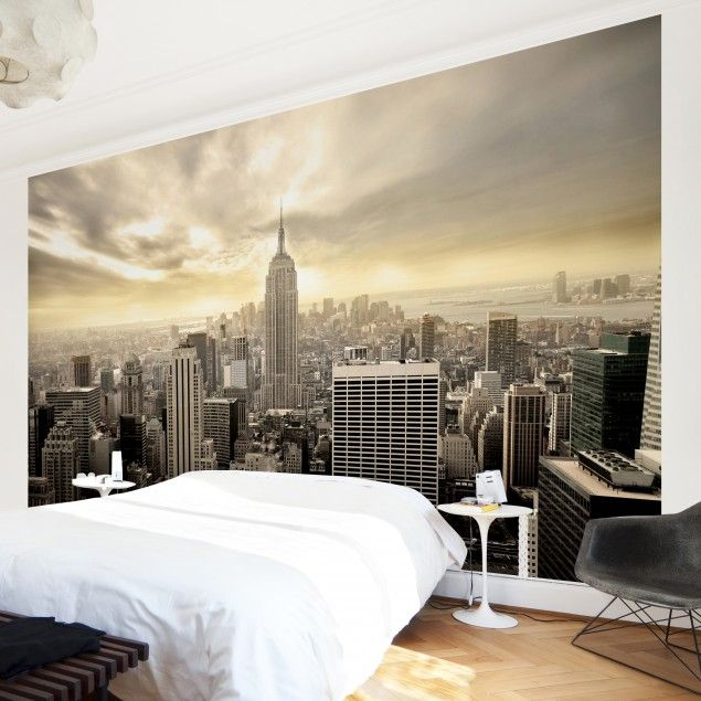 new york tapete vliestapete manhattan dawn new york fototapete breit wandgestaltung. Black Bedroom Furniture Sets. Home Design Ideas