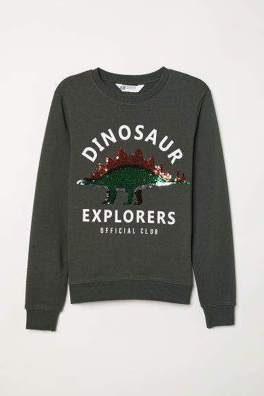 f4a82eee809718 H&M Sweatshirt with Applique - Green   Products   Sweatshirts, Kids ...