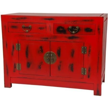 Oriental Furniture Antique Oriental Style Small Server, 40 Inch Traditional Chinese  Red Painted Cabinet
