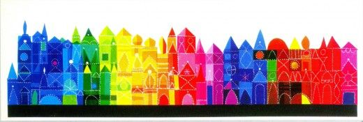 Mary Blair -- It's A Small World... row houses in vibrant spectrum of color