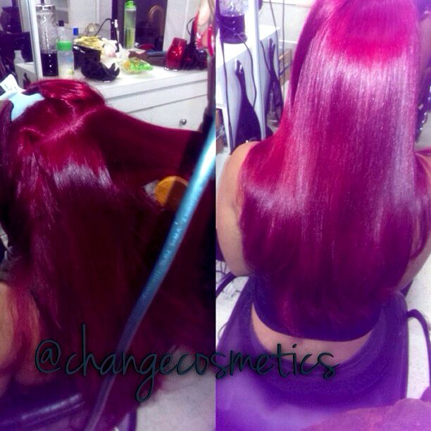 This is our red cellophane rinse color more than a color is a deep treatment to revitalize nurture and give life to your hair from root to tip.