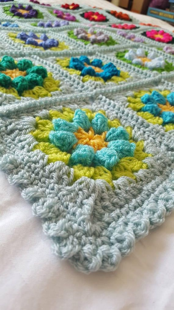 Primavera Flowers Granny Squares Blanket Afghan Crocheted In Stock ...