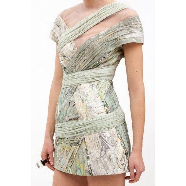 Rodarte  Hand-Marbled Silk Chiffon Dress ($10,350) found on Polyvore
