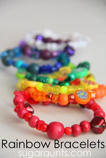 Rainbow Bead Bracelets | St Patricks Day Crafts for Kids