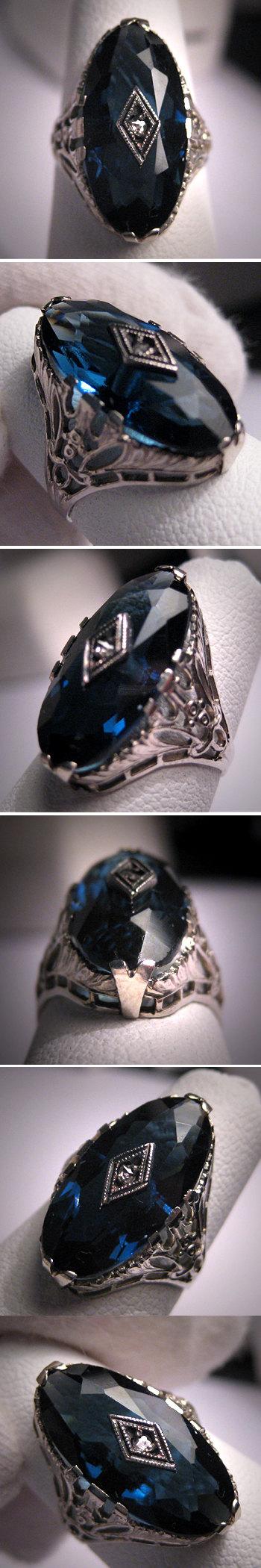 Antique Sapphire Diamond Wedding Ring Art by AawsombleiJewelry, $985.00