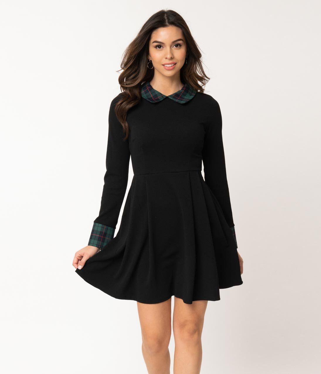 Smak Parlour Black Green Plaid Long Sleeve New A List Fit Flare Dress Fit Flare Dress Dresses Green Plaid Dress [ 1275 x 1095 Pixel ]