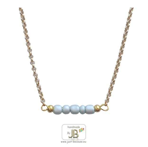 Ketting Summer Beads blue-goud €8,50