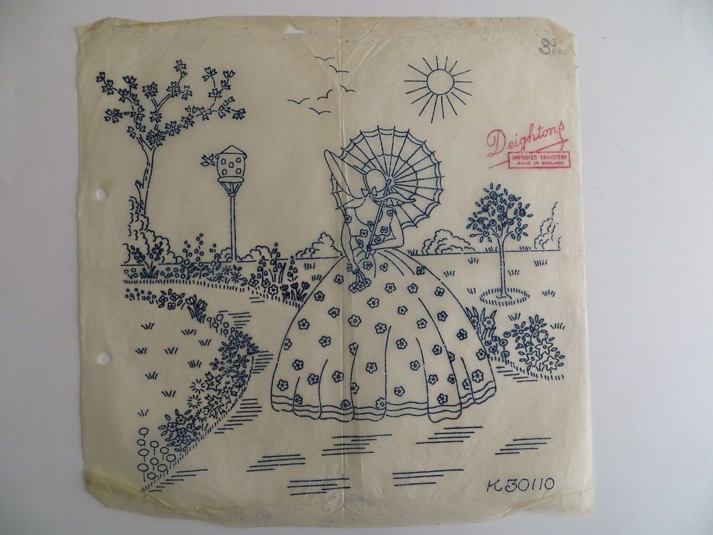 vintage embroidery transfer crinoline lady with parasol in cottage ...