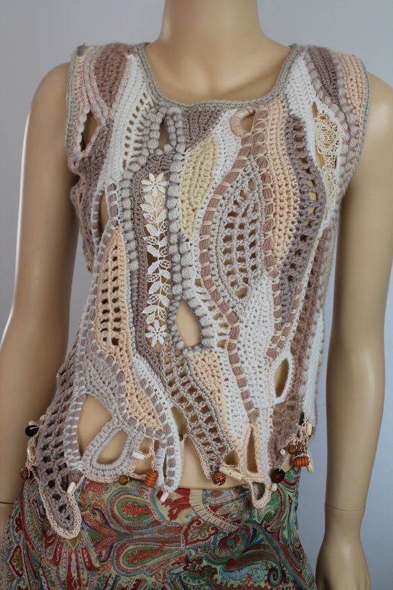 Boho Chic Hippie Chunky Freeform Crochet Vest Sweater Cardigan