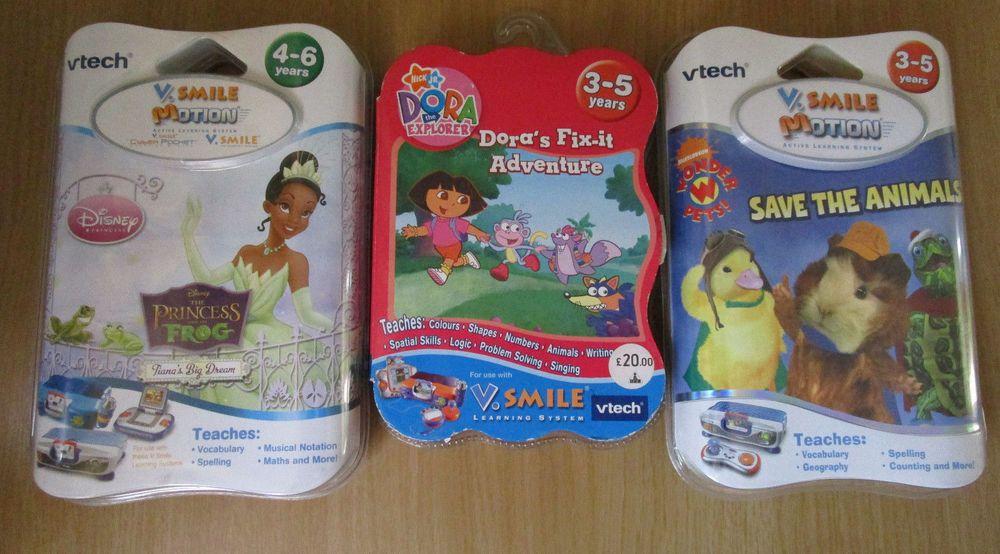 3x Vtech V Smile Motion Dora Explorer Wonder Pets Princess Amp Frog Games New With Images Childrens Educational Toys Wonder Pets Explorers Games