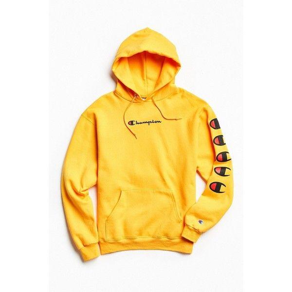 74eb1d648e0 Champion Repeat Eco Hoodie Sweatshirt ($64) ❤ liked on Polyvore featuring  tops, hoodies, hooded sweatshirt, graphic hoodie, pullover hoodie, ...