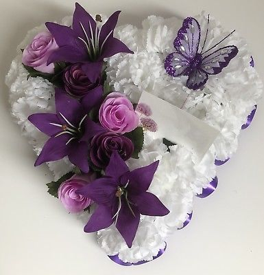 Photo of Heart – shaped artificial weeping flower wreath made of silk Ebay