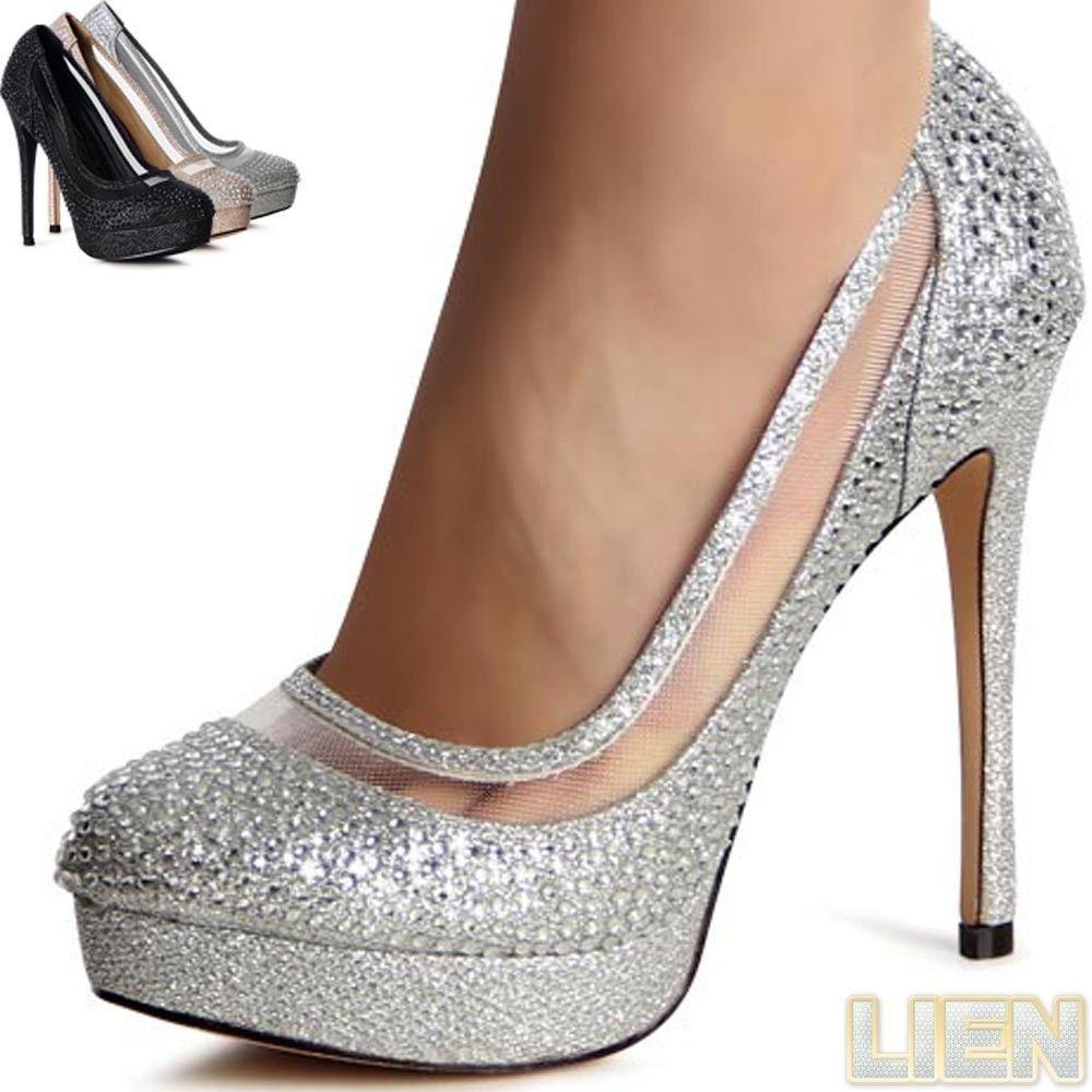 aliexpress excepcional gama de colores detallado Mujer Tacones Plataforma Brillo Tacones Altos Zapatos De ...