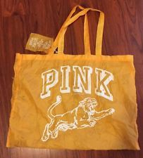 """Pink By Victoria's Secret Laundry Bag Yellow With Tiger 18""""X25"""""""